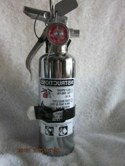 """1 lb. """"CHROME"""" BC FIRE EXTINGUISHER NEW  CERTIFIED IN BOX"""