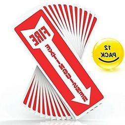 """Fire Extinguisher Sign Sticker, Safety Signs - Set of 12, 4"""""""